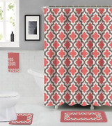 Empire Home 18-piece Modern Pink And Gray Bathroom Set Rugs Towels Included