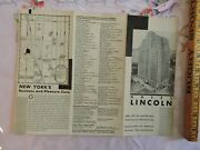1928 Hotel Lincoln Nyc New York City Chanin Real Estate Map Brochure