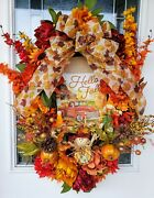 Fall Wreath Grapevine With Autumn Leaves And Autumn Flowers
