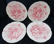 Set Of 4 Johnson Brothers Windsor Ware Dover Red 10 Dinner Plates- Excellent