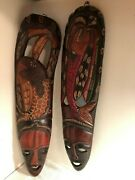 Pair Of 2- Hand Carved African Wall Mount Wooden Face Masks - Male/female Set
