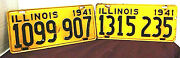 Illinois 1941 Old License Plates 2 Different Numbers You Get Both