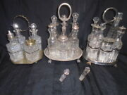William Hutton And Sons + Benetfink And Co. 7 Pice Silverplate Cruet Castor Sets +1