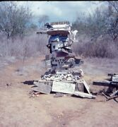 Sculpture Made Out Of Old Wooden Signs And Bones 1978 35mm Abstract Photo Slide