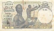 French W. Africa 10 Francs 19.12.1952 P 37 Series T Circulated Banknote Mef