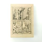 Rare Stampers Anonymous U1-712 Collage Art Drawing Sketch Rubber Stamp