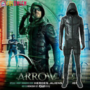Green Arrow 5 Cosplay Oliver Queen Costume Speedy Halloween Leather Outfits Lot