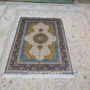 Yilong 4and039x6and039 Handknotted Silk Carpet Multi-color Floral Bedroom Area Rug 126a