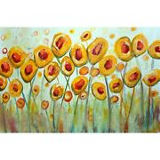 Summer Yellow Flowers Original Oil Painting Impressionist Whimsical Abstract Mod