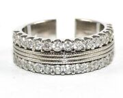 Round Diamond 2 Row Cluster Ladyand039s Ring Band 18k White Gold 1.42ct