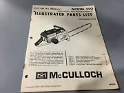 Mcculloch 550 Chainsawillustrated Parts Listmcculloch Nov 1968