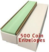 Quality Small Paper Envelopes 2x2 Coin Holders Green W/ Flap Storage Box Of 500