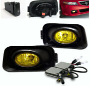 For 2004-2005 Acura Tsx 4dr Yellow Front Lower Bumper Fog Lights Lamp+6k Hid New