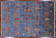 5' 7 X 7' 11 Tribal Hand Knotted Wool Gabbeh Area Rug - Q3096
