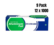 9 Pack- Food Service Heavy Duty Aluminum Foil Roll 12 In X 1000 Ft