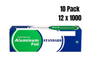 10 Pack- Food Service Heavy Duty Aluminum Foil Roll 12 In X 1000 Ft