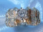 Vintage 14k Yellow Gold Ring 5.25mm Diamond And 20 Accents 1.4 Tcw Size 4.75