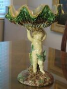 Beautiful Majolica French Palissy Ware Compote Putti Supporting Shell