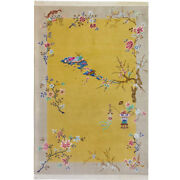 Yilong 6and039x9and039 Yellow Flowers Hand Knotted Chinese Art Deco Wool Rug Luxury Carpet