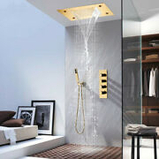 Thermostatic Shower System Gold Waterfall Rainfall Led 360500mm Shower Faucet