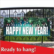 Happy New Year Advertising Banner Vinyl / Mesh Banner Sign Holiday Party Decor