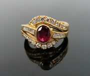 Vintage 1.0ct Ruby And 1.0ct Diamond 18k Yellow Gold Crossover Ring