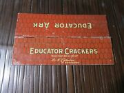 Antique Tin Lithograph Educator Crackers Animal Ark Roof Only Incredibly Rare