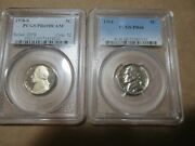Jefferson Nickels 1954 Prf 66 And 1978s Prf 69 Dcam Pcgs