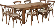 7and039 X 40and039and039 Antique Rustic Folding Farm Table Set W/8 Cross Back Chairs And Cushions
