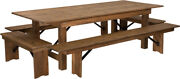 8and039 X 40and039and039 Rectangular Antique Rustic Folding Farm Table With 4 Bench Set