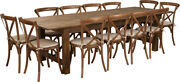 9' X 40'' Antique Rustic Folding Farm Table Set 12 Cross Back Chairs And Cushions