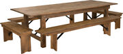 9' X 40'' Rectangular Antique Rustic Folding Farm Table With 4 Bench Set
