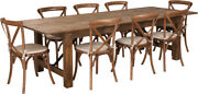 9and039 X 40and039and039 Antique Rustic Folding Farm Table Set 8 Cross Back Chairs And Cushions