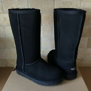 Ugg Classic Tall Ii Black Suede Fur Youth Kid Girl Boots Size 6 = Women Us 8