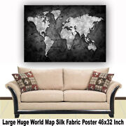 World Map Huge Large Poster Big Thin Canvas Wall Vintage Art Restore Custom A16