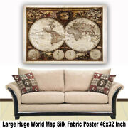 World Map Huge Large Poster Big Thin Canvas Wall Vintage Art Restore Custom A28