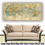 World Map Huge Large Poster Big Thin Canvas Wall Vintage Art Restore Custom A34