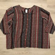 Roamans Pinstriped Multicolor Button Down Shirt Top 3/4 Sleeve Womens Sz 40w