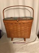 Pre-owned Longaberger Hand Painted Bird House Footed Magazine/sewing Basket