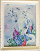 New Completed Finished Cross Stitch A Unicorn In Flowers Home Decor Bedroom