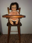 Vintage 1965 Madame Alexander Baby Doll In Cass Toys Usa Wooden High Chair Usa