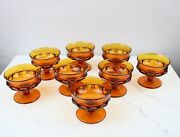 8 Vintage Indiana Amber Glass Kings Crown Footed Dessert/custard Cups Glasses
