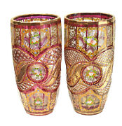 Pair Bohemian Cranberry Red And Clear Hand Painted Enamel Cut Glass Vases C1910