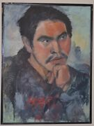 Large Scale Vintage Chinese Male Oil Portrait Harl Rul By Frances Binnington