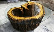 Hand Made Aspen Tree Coffee Table 48in Diameter 54in Tempered Glass.andnbsp