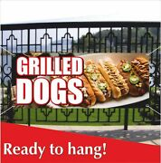 Grilled Dogs Advertising Vinyl Banner / Mesh Banner Sign Carnival Food Hot Dogs