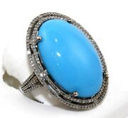 Estate Huge Oval Turquoise And Diamond Halo Solitaire Ring 14k White Gold 20.0ct