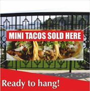 Mini Tacos Sold Here Advertising Vinyl Banner / Mesh Banner Sign Mexican Food