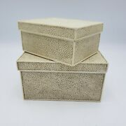 Pair Of Decorator Faux Snake Skin Chagreen Dresser Boxes Resign / Lacquer Decor