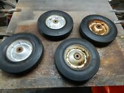 Vintage 4pc.set Of 10 X 2.75 Solid Hard Tires With Rims